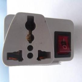 ПереходникА-14 с англ розет  серый с кнопкой